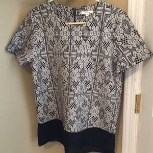 Pleione Textured Floral Lace Black and Grey Top